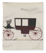 Design For Glass Panel Coach, No. 3132 1875 Fleece Blanket