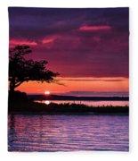 Detroit Point September Sunset Fleece Blanket
