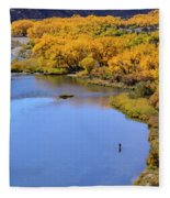 Distant Fisherman On The San Juan River In Fall Fleece Blanket