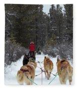Dog Sledding Near Whitehorse Yukon Canada Fleece Blanket