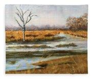 Early Spring On The Marsh Fleece Blanket