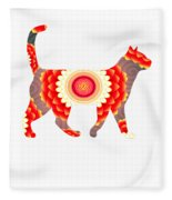 Fire Flower Cats Fleece Blanket