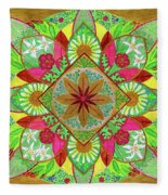 Flower Garden Mandala Fleece Blanket