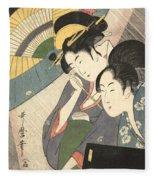 Geisha And Attendant On A Rainy Night Fleece Blanket