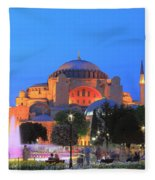 Hagia Sophia At Night Istanbul Turkey  Fleece Blanket