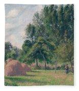 Haystacks, Morning, Eragny, 1899 Fleece Blanket