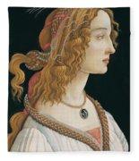 Portrait Of A Young Woman, Portrait Of Simonetta Vespucci As Nymph Fleece Blanket