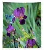 Iris In The Cottage Garden Fleece Blanket