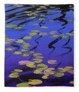 Lilies On Blue Water Fleece Blanket