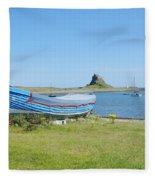 Lindisfarne Castle, Bay And Boat Fleece Blanket
