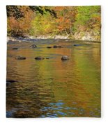 Little River In Autumn In Smoky Mountains National Park Fleece Blanket