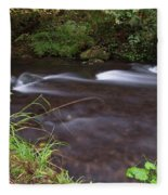 Long Exposure Photographs Of Rolling River With Fall Foliage Fleece Blanket