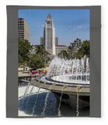 Los Angeles City Hall And Arthur J. Will Memorial Fountain Fleece Blanket