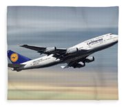 Lufthansa Boeing 747-430 Fleece Blanket