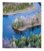 Manistee River Bend From Above Fleece Blanket
