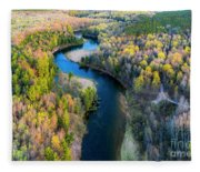 Manistee River From Above In Spring Fleece Blanket