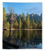 Merced River Reflection, Yosemite National Park Fleece Blanket