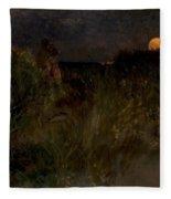 Moonrise Over The Dunes  Fleece Blanket