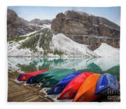 Moraine Lake Canoes Fleece Blanket