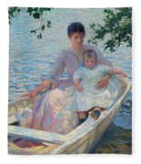 Mother And Child In A Boat Fleece Blanket