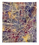 Munich Germany City Map Fleece Blanket