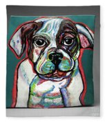 Neon Bulldog Fleece Blanket