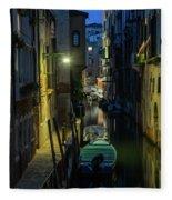 Night Walk In Venice Fleece Blanket