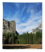 North Dome And Half Dome, Yosemite National Park Fleece Blanket