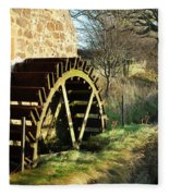 old mill wheel and stream at Preston Mill, East Linton Fleece Blanket