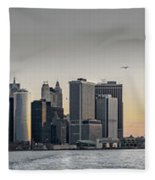Panoramic View Of Manhattan Island And The Brooklyn Bridge At Su Fleece Blanket