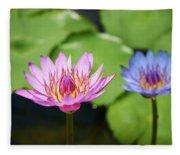 Pink Lotus Water Flower Fleece Blanket
