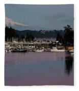 Pink Purple Glow Over Mount Rainier And Gig Harbor Marina After Sunset Fleece Blanket