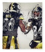 Pittsburgh Steelers.le'veon Bell And Antonio Brown Fleece Blanket