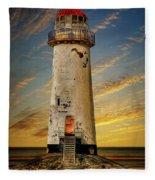 Point Of Ayr Lighthouse Sunset Fleece Blanket