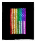 Rainbow Us Flag Fleece Blanket