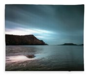 Rhossili Bay And Worms Head Fleece Blanket