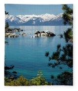 Rocks In A Lake With Mountain Range Fleece Blanket