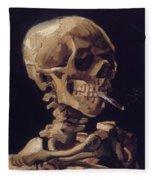 Skull With Cigarette  Fleece Blanket