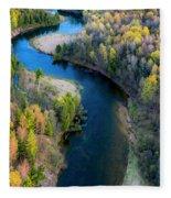 Springtime On The Manistee River Aerial Fleece Blanket