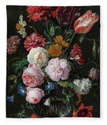 Still Life With Flowers In A Glass Vase, 1683 Fleece Blanket