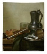 Still Life With Tobacco  Wine And A Pocket Watch  Fleece Blanket