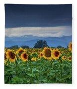 Sunflowers Under A Stormy Sky Fleece Blanket by John De Bord