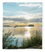 Sunset On The Elbe Fleece Blanket