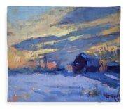 Sunset Over The Farm Fleece Blanket