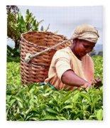 Tea Picker In Kenya Fleece Blanket