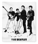 The Beatles Black And White Watercolor 02 Fleece Blanket