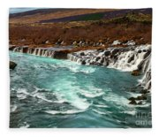 The Beautiful Cascades Of Hraunfossar In Iceland. Fleece Blanket
