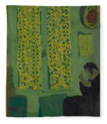 The Green Interior  Figure Seated By A Curtained Window   Fleece Blanket