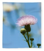 Thistle With Blue Sky Background Fleece Blanket