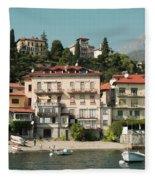 Town In The Shore Of Lake Como Fleece Blanket